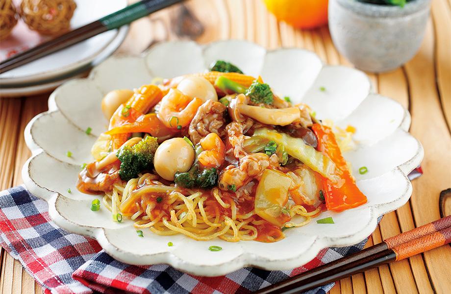 写真: カリっと麺の中華あんかけ焼きそば